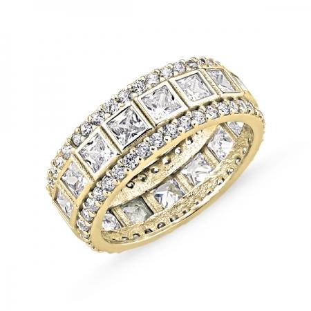 Inel argint lat placat cu aur, cu zirconii - Eternity