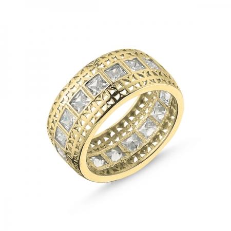 Inel argint lat placat cu aur, cu zirconii patrate - Eternity