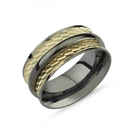 Inel argint lat placat cu rodiu negru, cu doua benzi placate cu aur