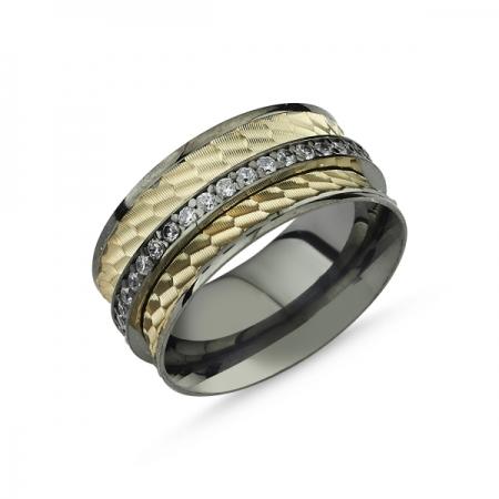 Inel argint lat placat cu rodiu negru, cu doua benzi placate cu aur si un sirag de zirconii albe