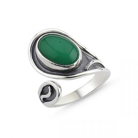 Inel argint lucrat manual, cu agat verde, reglabil