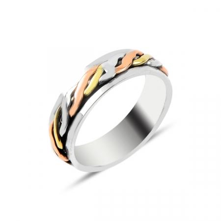 Inel argint model impletit cu 3 nuante aurii, placat cu rodiu