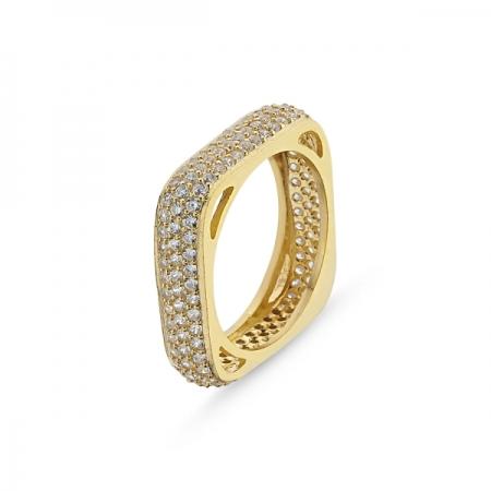 Inel argint patrat placat cu aur, cu 3 randuri de zirconii - Eternity