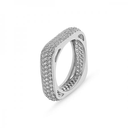 Inel argint patrat placat cu rodiu, cu 3 randuri de zirconii - Eternity