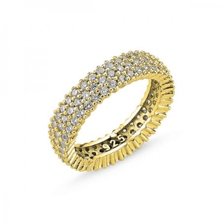 Inel argint placat cu aur cu 3 randuri de zirconii - Eternity