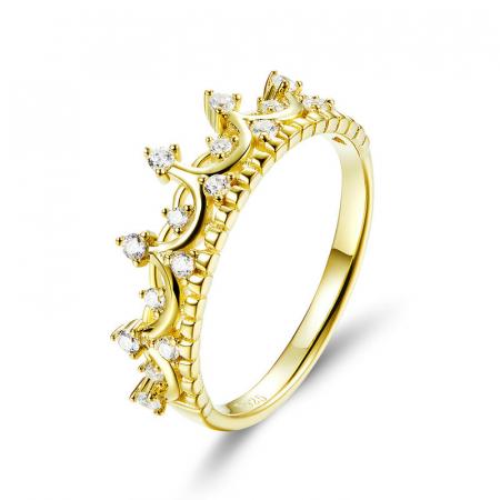 Inel argint placat cu aur, cu coroana si zirconii