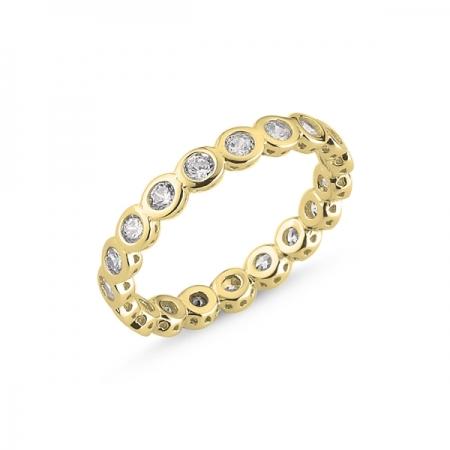 Inel argint placat cu aur, cu zirconii albe - Eternity