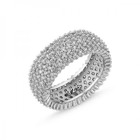Inel argint placat cu rodiu cu 5 randuri de zirconii - Eternity