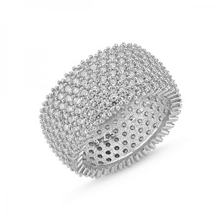 Inel argint placat cu rodiu cu 7 randuri de zirconii - Eternity