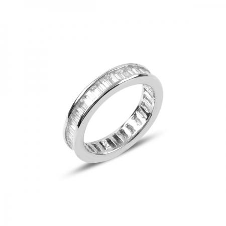 Inel argint placat cu rodiu, cu zirconii albe - Eternity