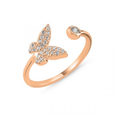 Inel argint reglabil Butterfly cu zirconii albe, placat cu aur roz