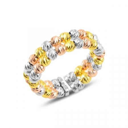 Inel argint reglabil cu 2 randuri de margele taiate tip diamant, placat cu rodiu