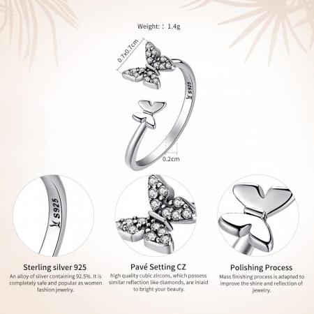 Inel argint reglabil cu fluturasi si cristale [2]