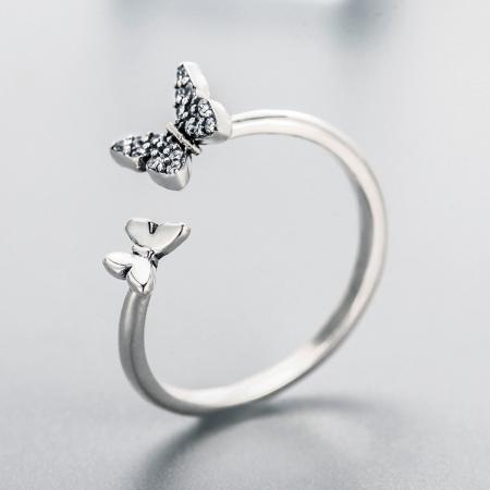Inel argint reglabil cu fluturasi si cristale [3]