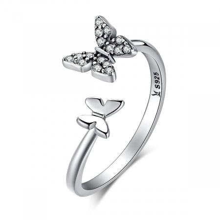 Inel argint reglabil cu fluturasi si cristale