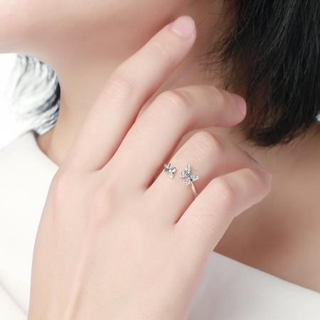 Inel argint reglabil cu fluturasi si cristale [4]
