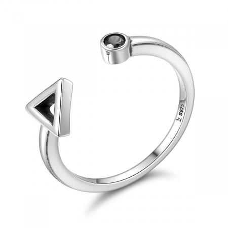 Inel argint reglabil cu forme geometrice