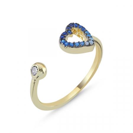 Inel argint reglabil cu inima si zirconii albastre, placat cu aur