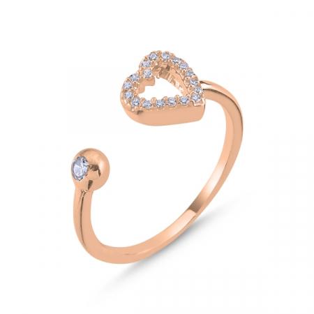 Inel argint reglabil cu inima si zirconii albe, placat cu aur roz
