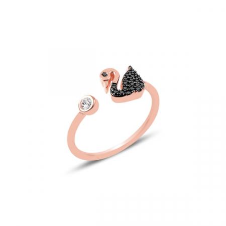 Inel argint reglabil cu lebădă si zirconii negre, placat cu aur roz