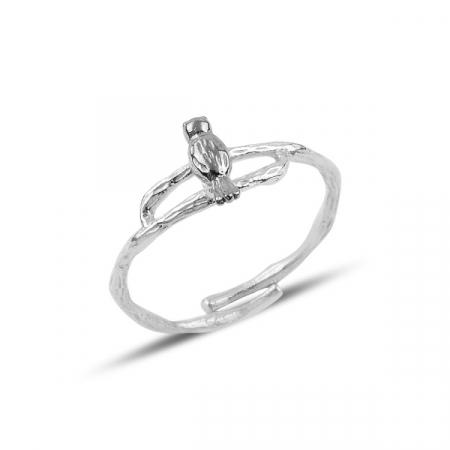 Inel argint reglabil cu pasare și ramuri, placat cu rodiu