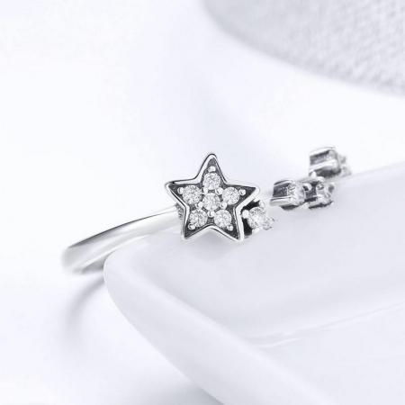 Inel argint reglabil cu steluta si zirconii [4]