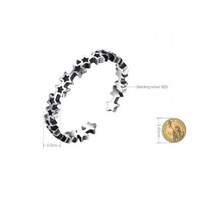 Inel argint reglabil cu stelute [3]