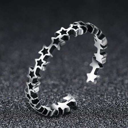 Inel argint reglabil cu stelute [7]