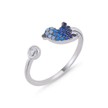 Inel argint reglabil cu vrabiuta si zirconii in nuante de albastru, placat cu rodiu