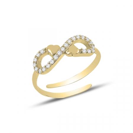 Inel argint reglabil Dragoste Infinita cu zirconii, placat cu aur