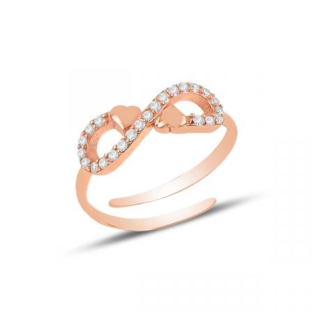 Inel argint reglabil Dragoste Infinita cu zirconii, placat cu aur roz