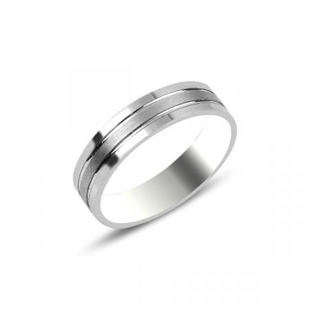 Inel argint rodiat model verigheta cu dungi