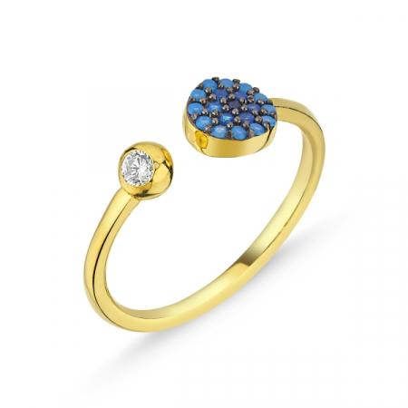 Inel argint rotund cu zirconii albastre si dimensiune reglabilă, placat cu aur