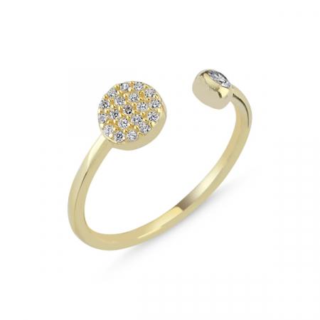 Inel argint rotund cu zirconii albe si dimensiune reglabilă, placat cu aur