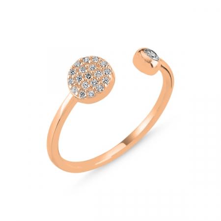 Inel argint rotund cu zirconii albe si dimensiune reglabilă, placat cu aur roz