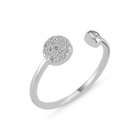 Inel argint rotund cu zirconii albe si dimensiune reglabilă, placat cu rodiu