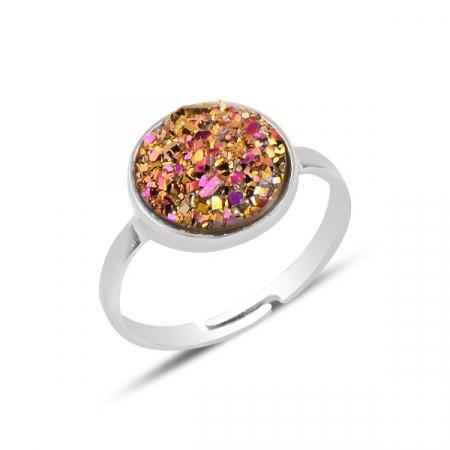 Inel argint rotund Druzy cu dimensiune reglabilă