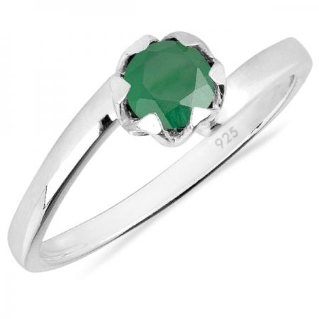 Inel argint Roxelana, 925, cu agat verde - IVA0071