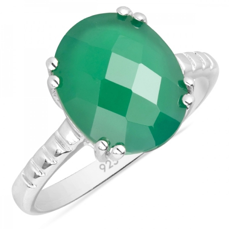 Inel argint Royal, 925, cu agat verde - IVA0005