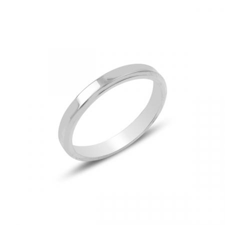 Inel argint simplu rodiat model verigheta 3 mm latime
