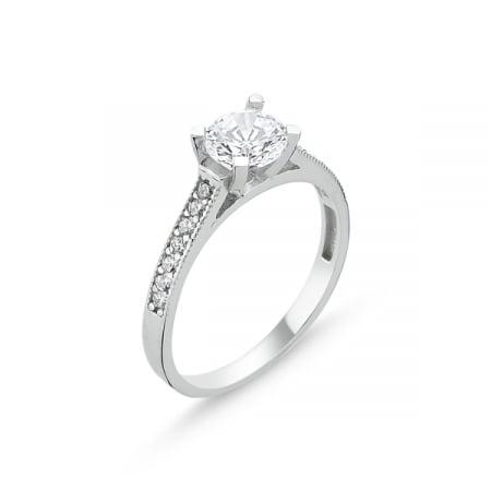 Inel argint Solitaire cu zirconii albe placat cu rodiu - ITU0223