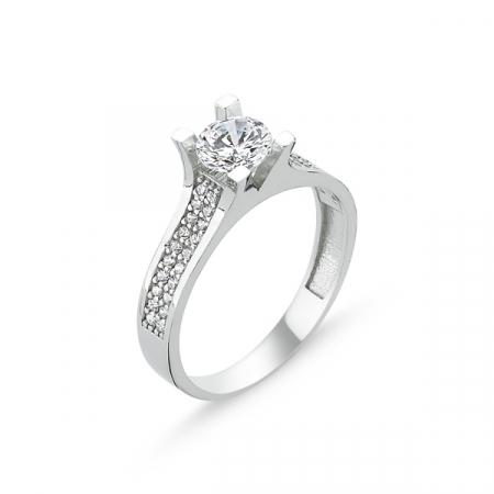 Inel argint Solitaire cu zirconii albe placat cu rodiu - ITU0224