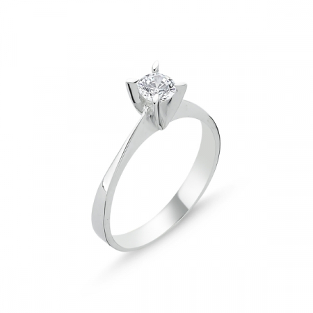 Inel argint Solitaire cu zirconiu alb, placat cu rodiu