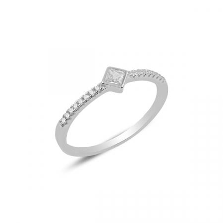 Inel argint Solitaire cu zirconiu, placat cu rodiu