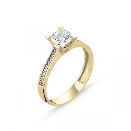 Inel argint Solitaire Heart, placat cu aur