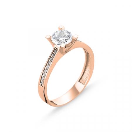 Inel argint Solitaire Heart, placat cu aur roz