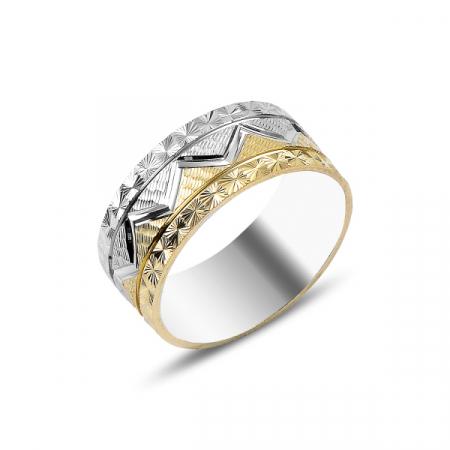 Inel argint tip verigheta cu model Zig Zag, placat cu rodiu