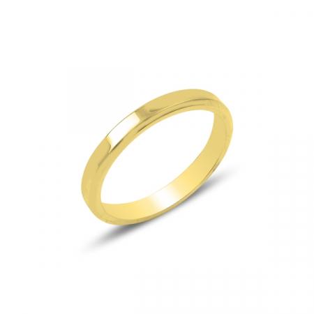 Inel argint tip verigheta ingusta 3 mm, placat cu aur - ITU0237