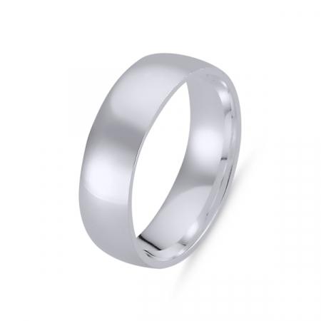 Inel argint tip verigheta simplă de 6 mm latime, placat cu rodiu