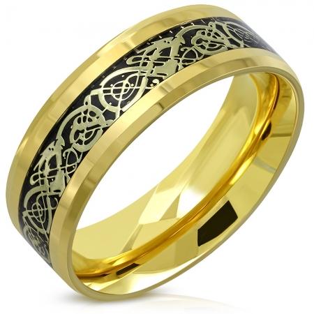 Inel auriu din inox cu dragoni si motive celtice